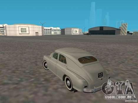 GAZ M20 Pobeda 1949 para GTA San Andreas traseira esquerda vista