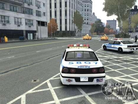 Chevrolet Impala NYCPD POLICE 2003 para GTA 4 traseira esquerda vista