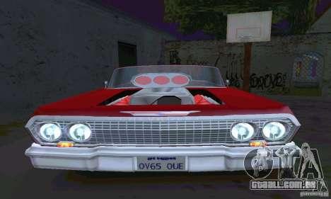 Chevrolet Impala 1963 Lowrider Charged para GTA San Andreas vista traseira