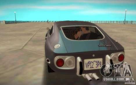 Toyota 2000GT 1969 para GTA San Andreas esquerda vista
