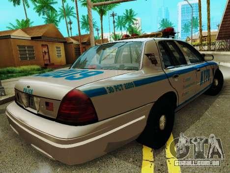 Ford Crown Victoria 2003 NYPD White para GTA San Andreas vista direita