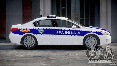 Peugeot 508 Macedonian Police [ELS] para GTA 4 esquerda vista