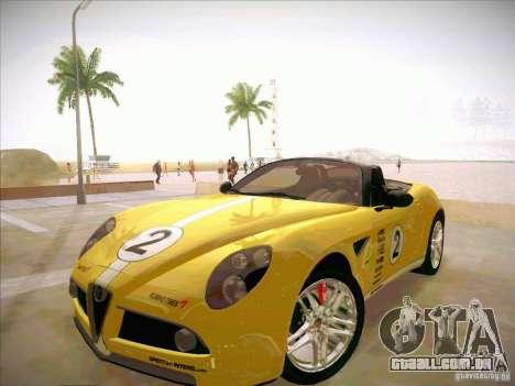 Alfa Romeo 8C Spider para GTA San Andreas vista superior