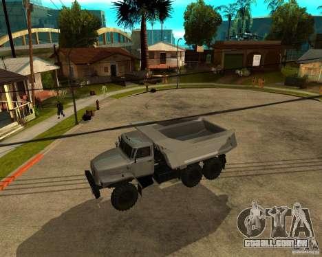 Caminhão de descarga 55571 Ural para GTA San Andreas traseira esquerda vista