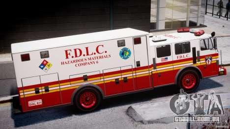 LCFD Hazmat Truck v1.3 para GTA 4 traseira esquerda vista