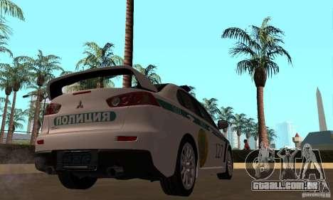 Mitsubishi Lancer Evolution X polícia do Cazaqui para GTA San Andreas vista traseira