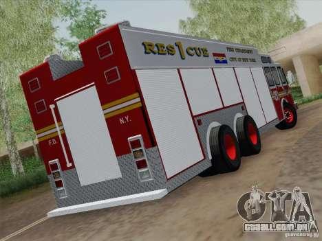 E-One F.D.N.Y Fire Rescue 1 para GTA San Andreas vista direita