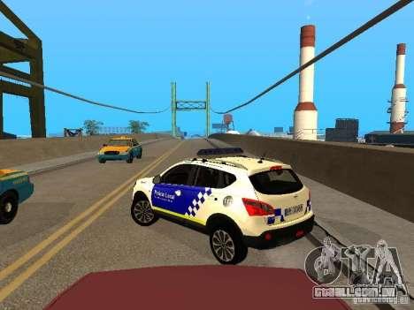 Nissan Qashqai Espaqna Police para GTA San Andreas traseira esquerda vista