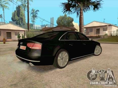 Audi A8 2010 para GTA San Andreas vista traseira