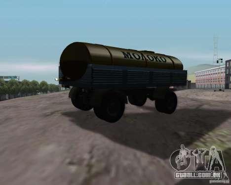 Trailer de Kamaz 53212 tanque de leite para GTA San Andreas esquerda vista