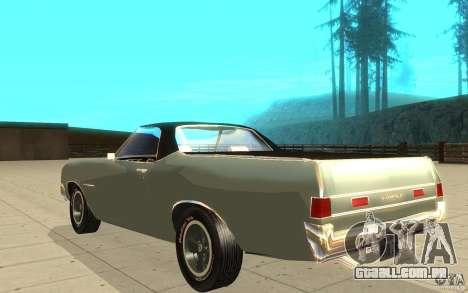 Chevrolet El Camino 1972 para GTA San Andreas traseira esquerda vista
