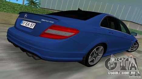 Mercedes-Benz C63 AMG 2010 para GTA Vice City vista interior