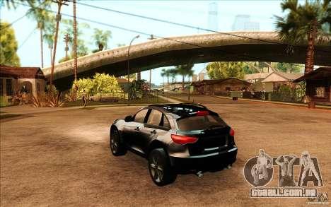 Infiniti FX50 Beta para GTA San Andreas traseira esquerda vista