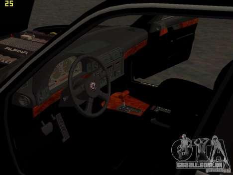 BMW E34 Alpina B10 Bi-Turbo para GTA San Andreas vista inferior