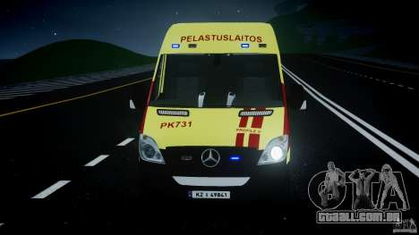 Mercedes-Benz Sprinter PK731 Ambulance [ELS] para GTA 4 vista inferior