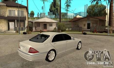 Mercedes Benz S600 para GTA San Andreas vista direita
