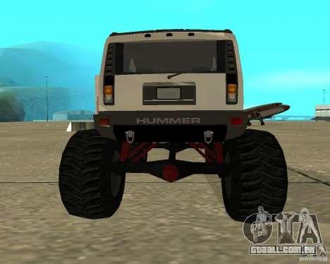 Hummer H2 MONSTER para GTA San Andreas traseira esquerda vista