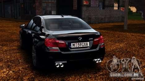 BMW M5 F10 2012 para GTA 4 traseira esquerda vista
