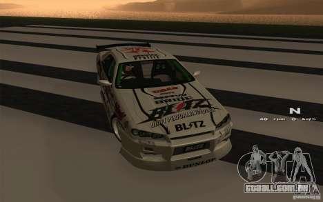 Nissan Skyline ER34 D1GP Blitz para GTA San Andreas esquerda vista