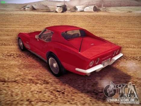 Chevrolet Corvette Stingray 1968 para GTA San Andreas traseira esquerda vista