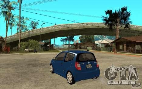 Citroen C2 - Stock para GTA San Andreas traseira esquerda vista