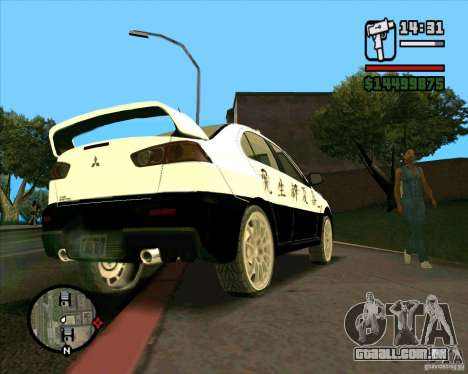 Mitsubishi Lancer EVO X Japan Police para GTA San Andreas vista traseira