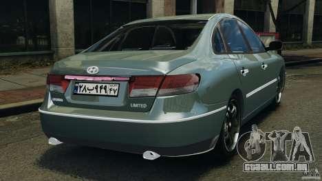 Hyundai Azera para GTA 4 traseira esquerda vista