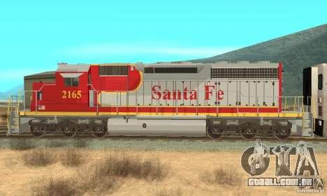 SD40 Santa Fe para GTA San Andreas esquerda vista