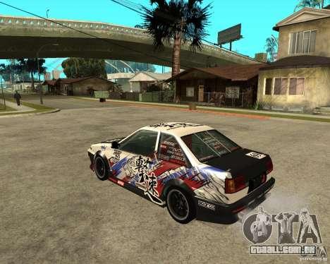 Yoshikazu AE86 para GTA San Andreas esquerda vista
