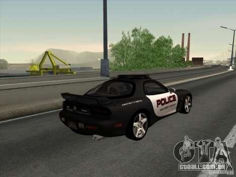 Mazda RX-7 FD3S Police para GTA San Andreas esquerda vista