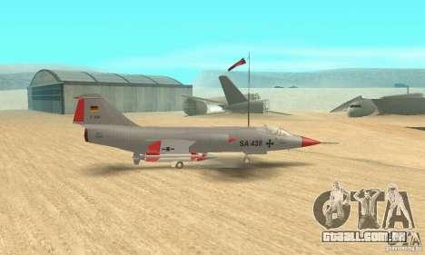 F-104 Starfighter Super (cinza) para GTA San Andreas traseira esquerda vista