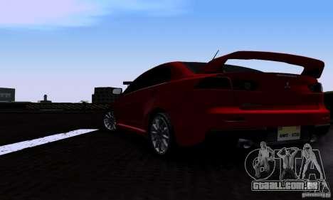 Mitsubishi Lancer Evolution X 2008 para GTA San Andreas esquerda vista