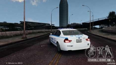NYPD BMW 350i para GTA 4 traseira esquerda vista