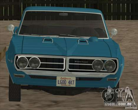 Pontiac Firebird Conversible 1966 para GTA San Andreas vista interior