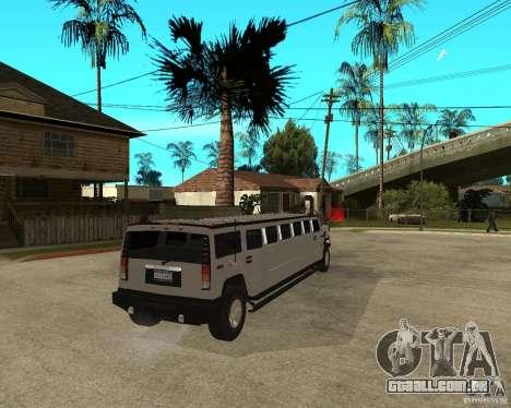 AMG H2 HUMMER 4x4 Limusine para GTA San Andreas traseira esquerda vista