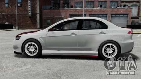 Mitsubishi Lancer Evolution X ToneBee Designs para GTA 4 esquerda vista