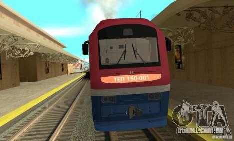 Diesel locomotiva TÈP150-001 para GTA San Andreas esquerda vista
