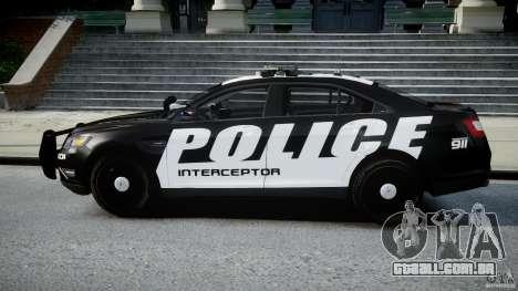 Ford Taurus Police Interceptor 2011 [ELS] para GTA 4 esquerda vista
