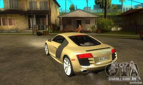 Audi R8 V10 5.2 FSI Quattro para GTA San Andreas traseira esquerda vista