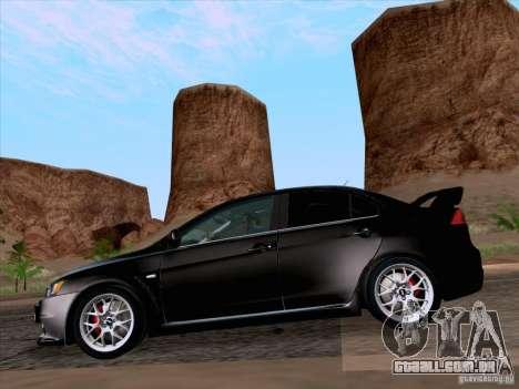 Mitsubishi Lancer Evolution X 2008 para GTA San Andreas traseira esquerda vista