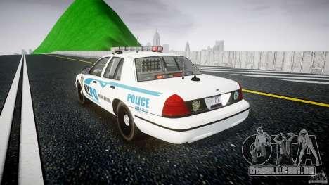 Ford Crown Victoria v2 NYPD [ELS] para GTA 4 traseira esquerda vista
