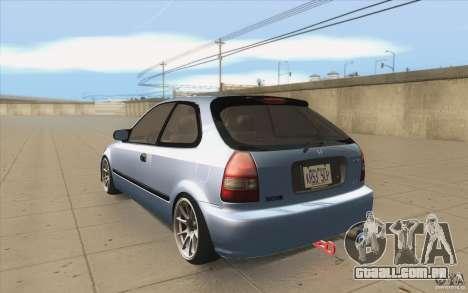 Honda Civic EK9 JDM v1.0 para GTA San Andreas traseira esquerda vista