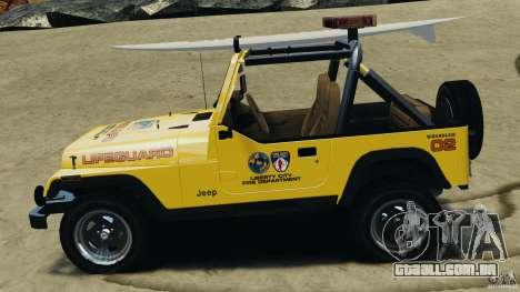 Jeep Wrangler 1988 Beach Patrol v1.1 [ELS] para GTA 4 esquerda vista