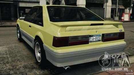 Ford Mustang GT 1993 v1.1 para GTA 4 traseira esquerda vista