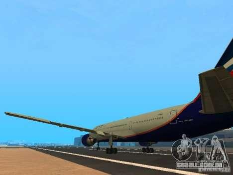 Boeing 767-300 Aeroflot para GTA San Andreas traseira esquerda vista