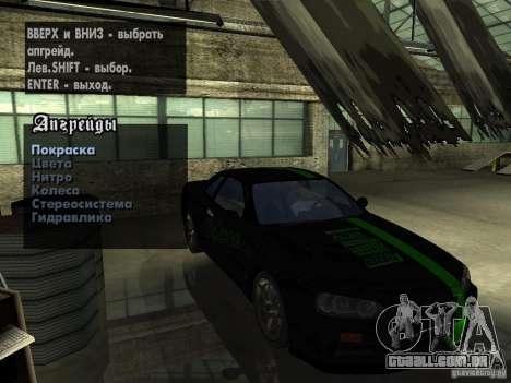 Nissan Skyline GT-R34 V-Spec para GTA San Andreas vista traseira