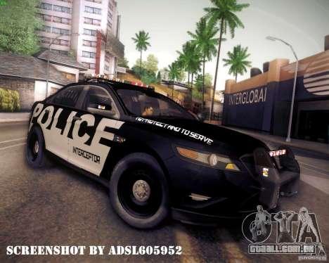 Ford Taurus Police Interceptor 2011 para GTA San Andreas esquerda vista