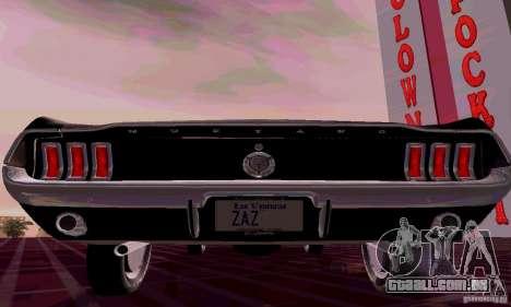 Ford Mustang 1967 para GTA San Andreas traseira esquerda vista