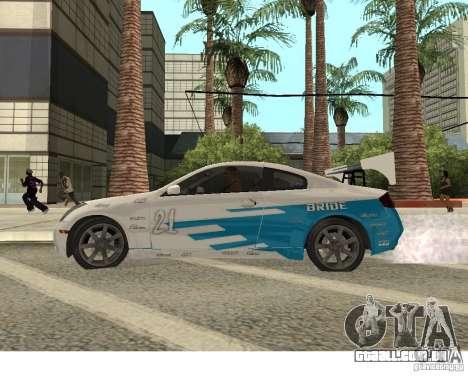 Infiniti G35 Coupe para GTA San Andreas vista traseira