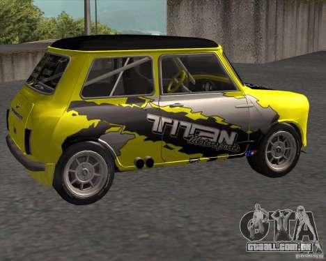 Mini Cooper S Titan Motorsports para GTA San Andreas esquerda vista
